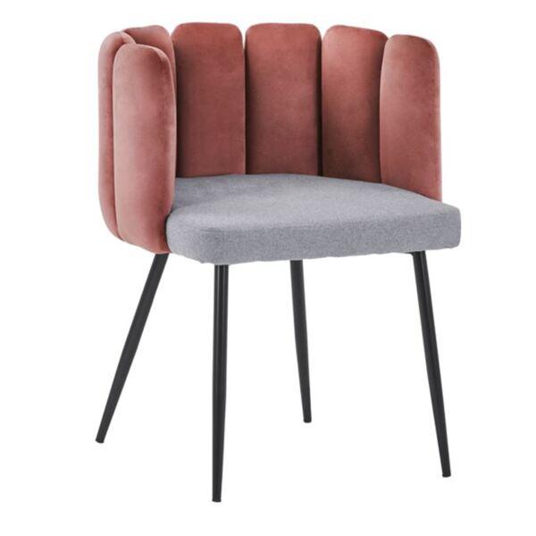 Кресло Пейтън розово кадифе и сив плат