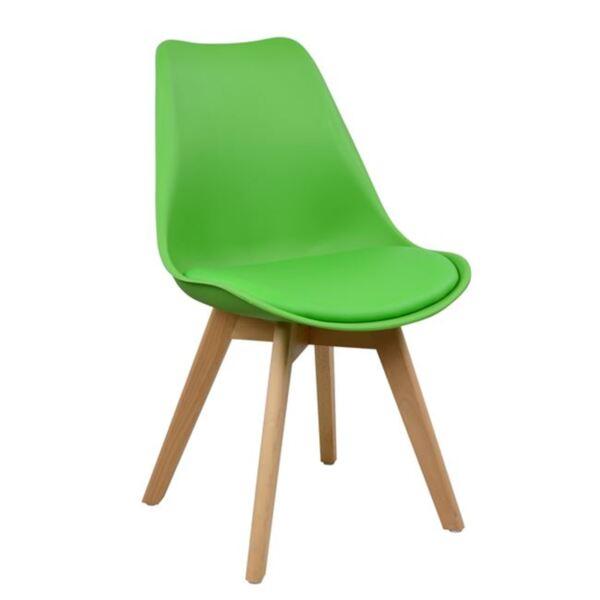 Стол Вегас с дървени крака и зелена седалка