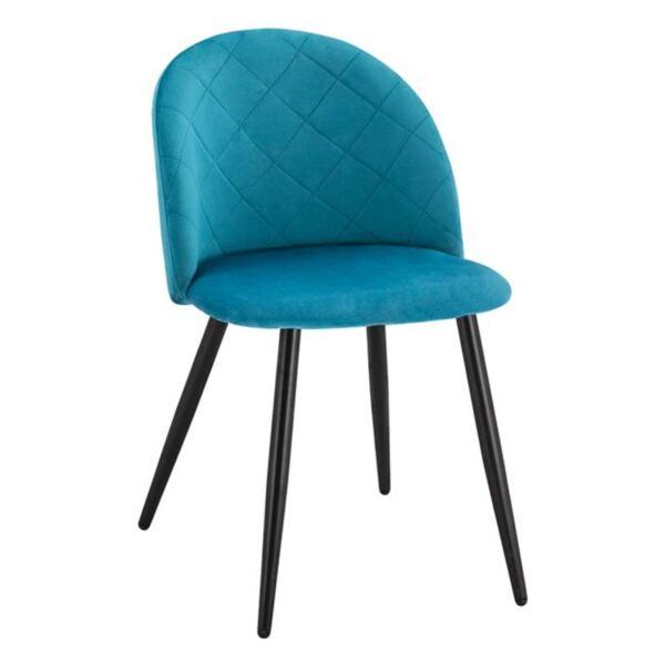 Трапезен  стол с метални крака - тюркоазено кадифе