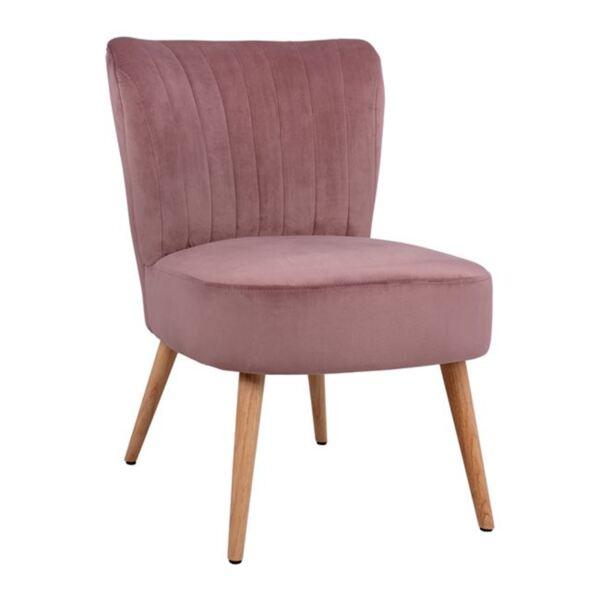 Кадифен стол Кариса в розов цвят