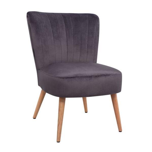 Кадифен стол Кариса в сив цвят