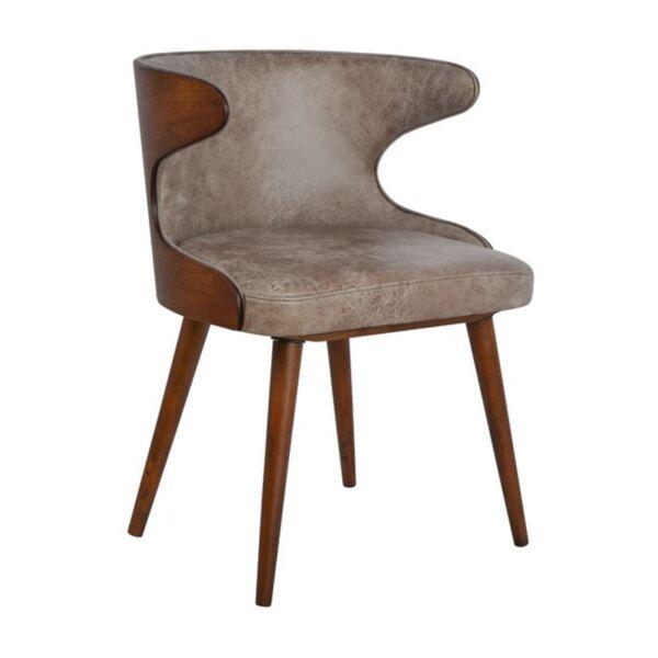 Трапезен стол с орехова основа и кафяв текстил