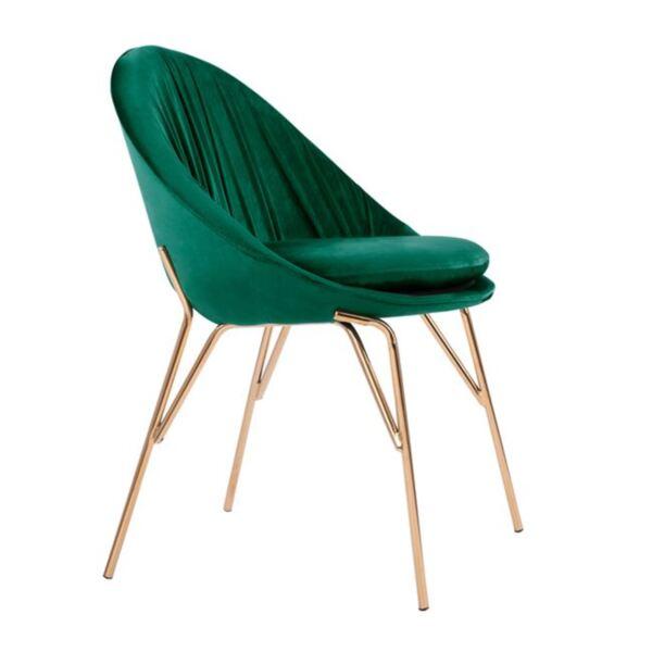 Стол KelКомплект кадифен зелено със златни крака