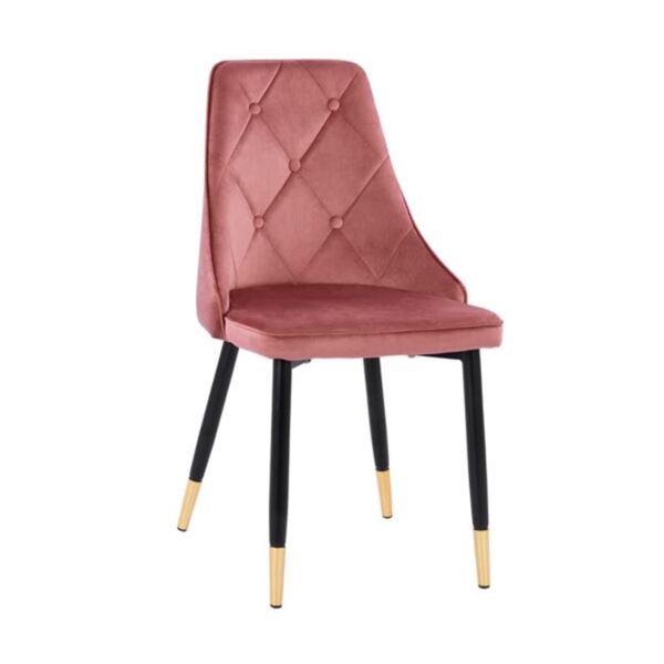 Стол Fannie розово кадифе с метална рамка