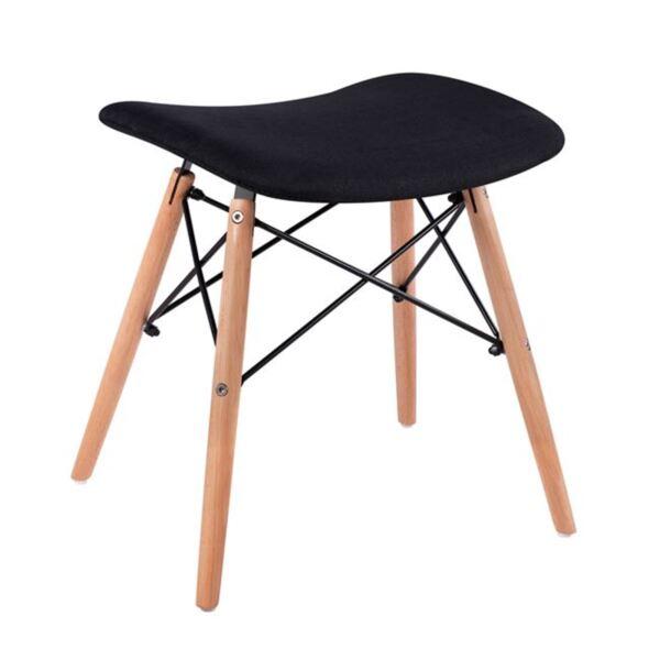 Стол с дървени крака Нели и възглавници от черен плат