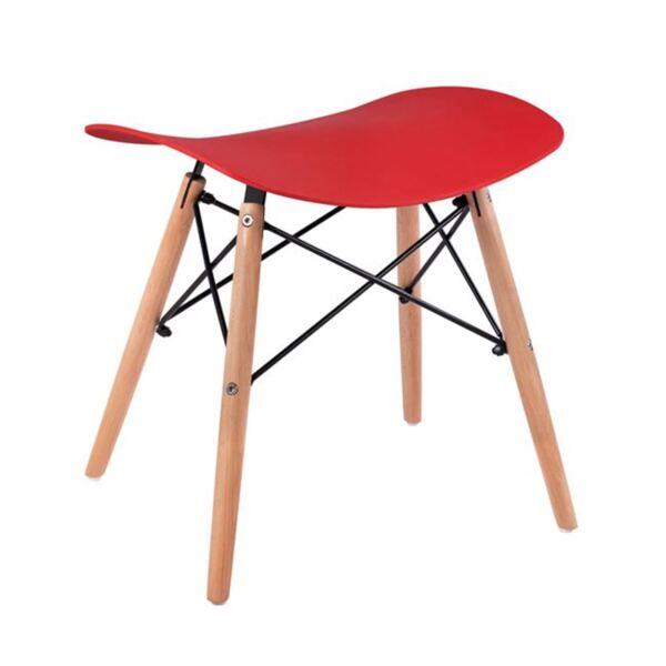 Стол с дървени крака Тоня в червено