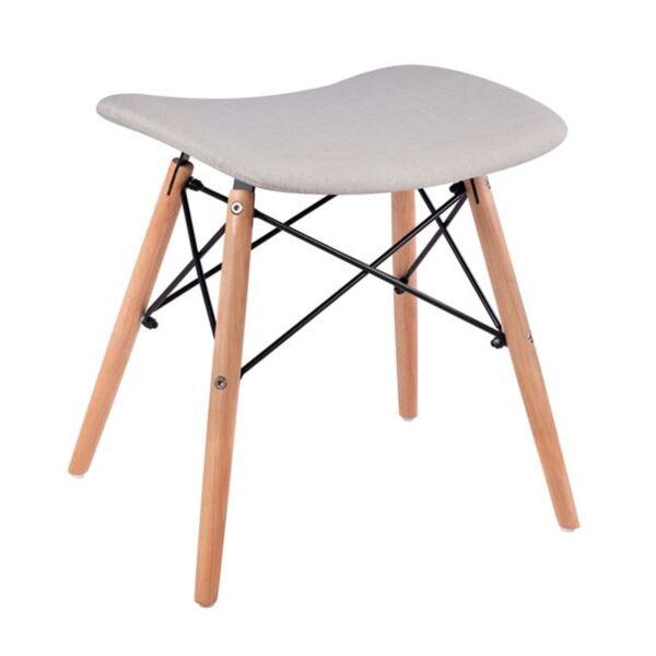 Стол с дървени крака Нели и възглавница със светло сив плат