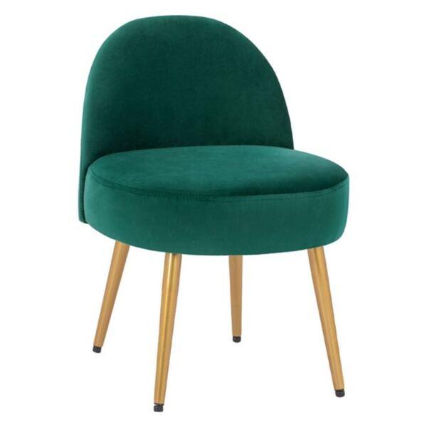 Стол с облегалка Яин зелено кадифе и златни крака