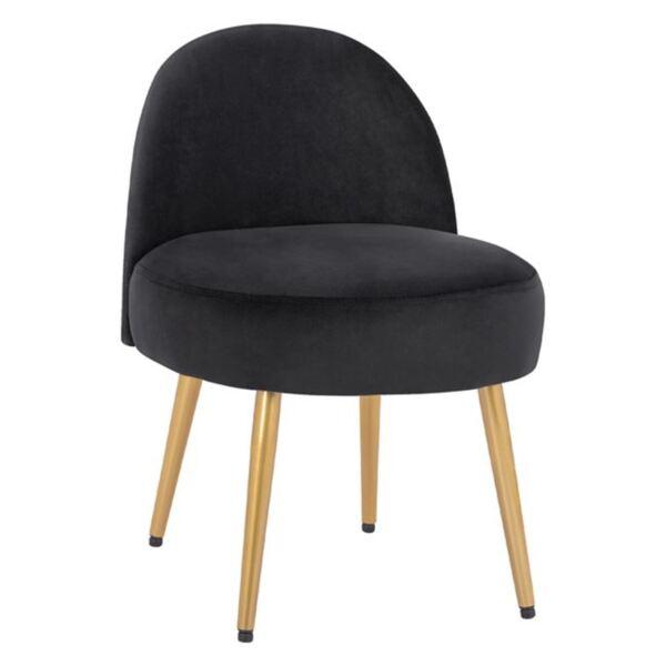 Стол с облегалка Яин от черно кадифе и златни крака