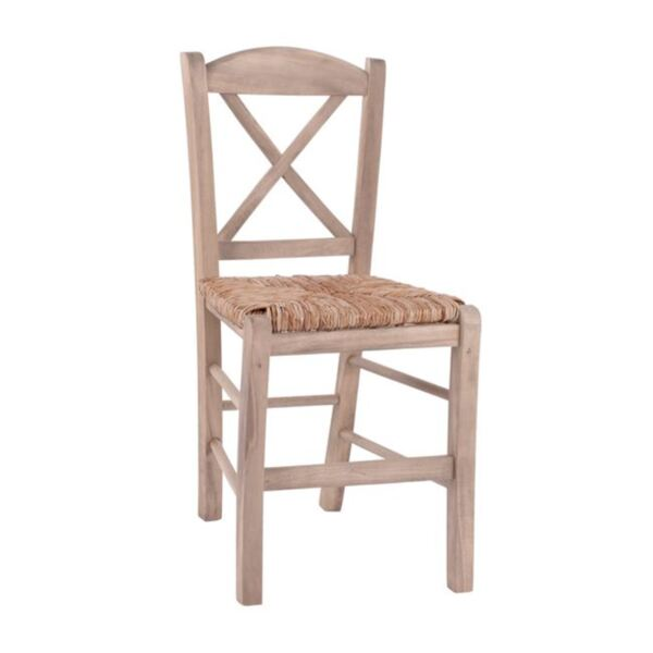 Дървен трапезен стол със слама