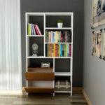 Библиотека Rise  с цвят орех/бяло 90x24x162 см