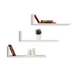 Стенна библиотека  L-Модел  бяло 50x20x14