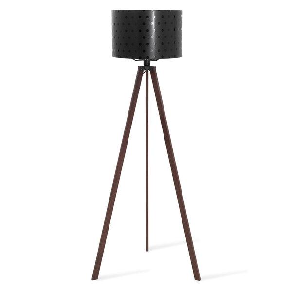 Лампион PWL-0003  с орехови крака и черно PVC  D38x140 см