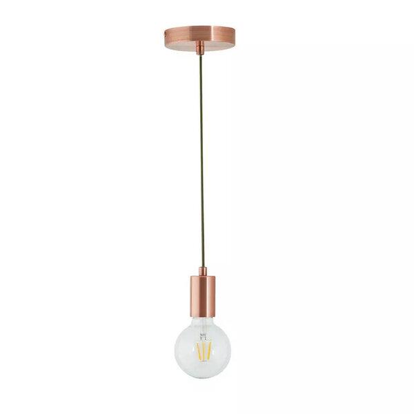 Висяща метална лампа PWL-0145  в меден цвят 8x8x70 см