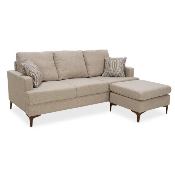 Ъглов диван Slim  с бежов плат и две възглавници 185x140x70 см