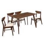 Трапезна маса + столове Бенсън   4бр 120x75x75 см в орех - бежов плат