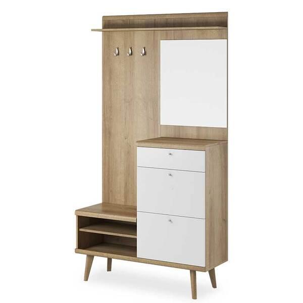 Шкаф за антре Primo  естествен цвят - бял 110x34x200 см