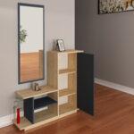 Шкаф за антре с огледало Ceel  с цвят орех/бяло 80x29.5x90 см