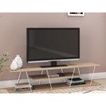 ТВ Шкаф TARS  в цвят сонама с бели детайли 143x32x31 см