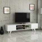 ТВ Шкаф Dore  в бял цвят, орех 160x31x40 см
