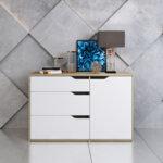 Шкаф Syммetry  в бял цвят дъб 120x40x70 см