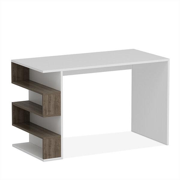 Офис бюро Limber  в цвят бяло/орех 120x60x75 см