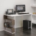 Офис бюро Limber  в бял цвят, орех 120x60x75 см