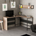 Офис маса с рафтове Orto  в цвят черен/орех 135x45x75 см