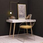 Работно бюро PWF-0070  в бял цвят с дървени крака 100x60x74 см