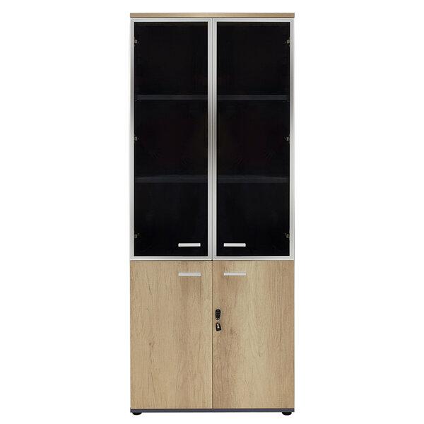 Библиотека Lotus  с четири врати от стъкло и дърво в сив/дъбов цвят 80x40x200 см