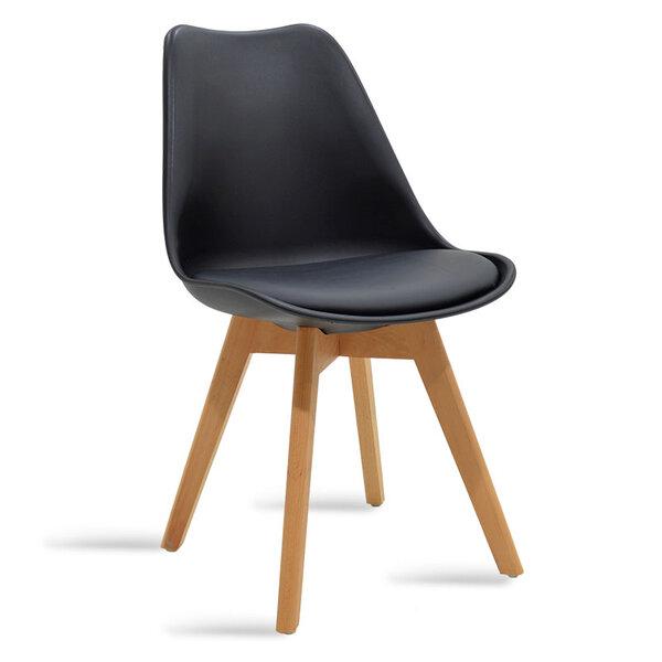 Стол Gaston от полипропилен и полиуретан в черен цвят