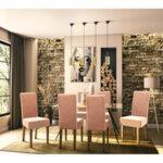 Дървен стол Ditta  с ябълков  плат с дървени крака