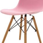 Стол Юлита от полипропилен розово/дъб