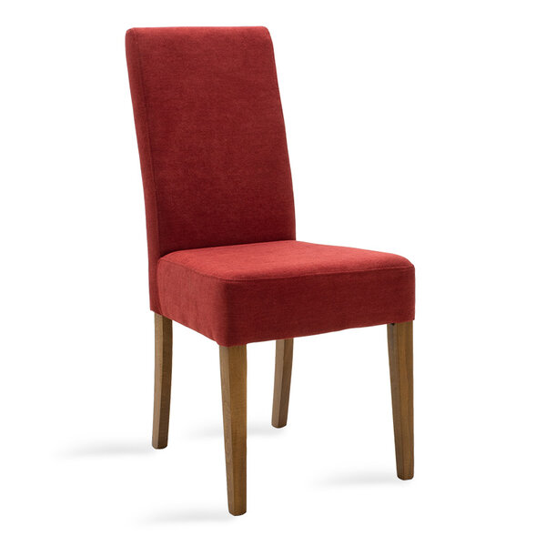 Дървен стол Ditta с червен текстил