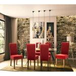 Дървен стол Ditta  с червен плат с дървени крака