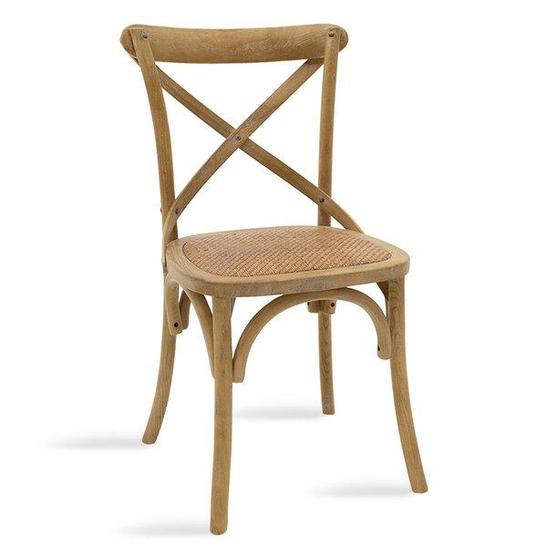 Дървен стол Reed в цвят сонама с кафяв ратан