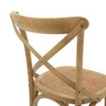 Дървен стол Reed в цвят сонама с кафяв ратан 45x55x87 см