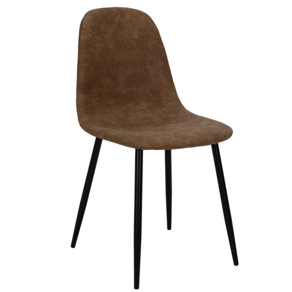 Стол Bella - кафяв полиуретан с метални черни крака