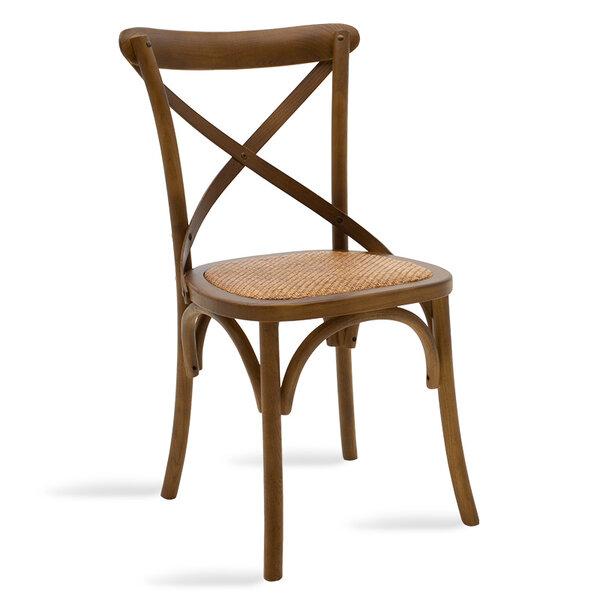 Дървен стол Reed в цвят орех с кафяв ратан