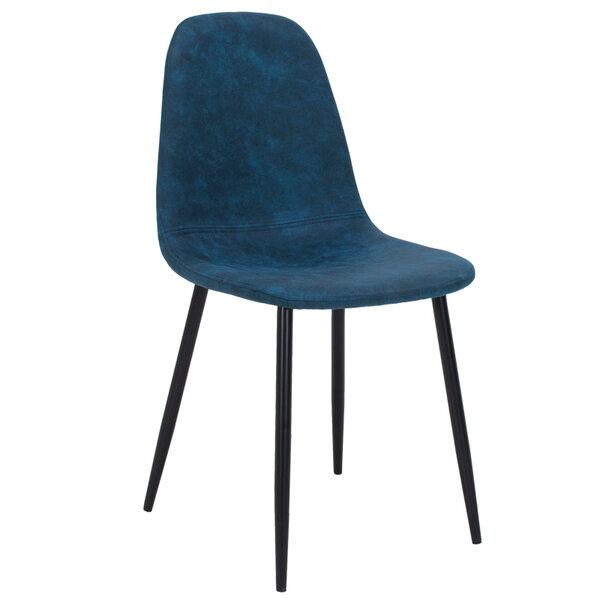 Стол Bella - син полиуретан с метални черни крака