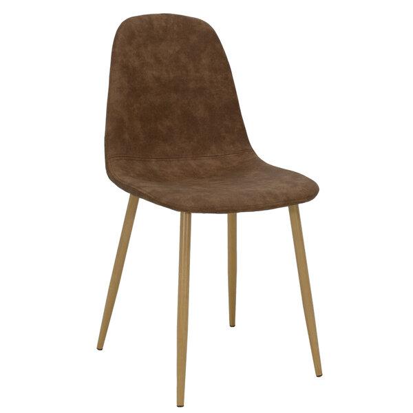 Полиуретанов стол Bella с метални  крака - кафяв