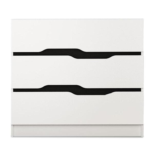 Скрин  с три чекмеджета цвят бяло-черен