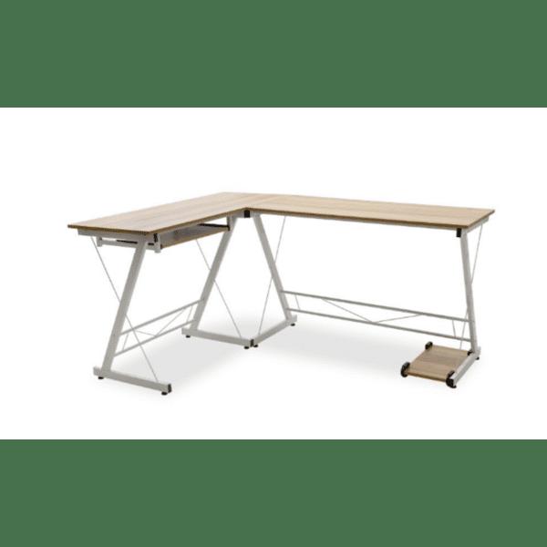 Ъглово бюро Levi цвят дъб-бял 158x120x73cm