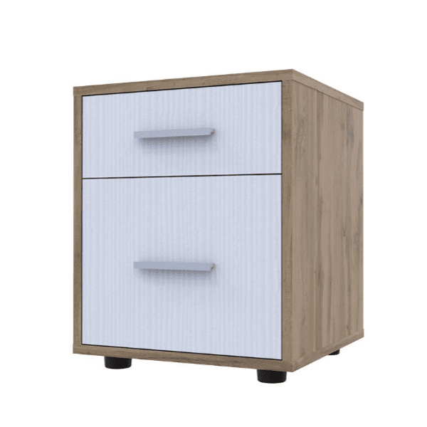 Нощно шкафче Лидон-цвят бял-орех