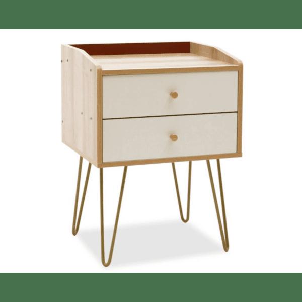 Нощно шкафче Nael-естествен-бял-златен цвят