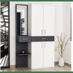 Шкаф за антре Манти-бял-сив цвят