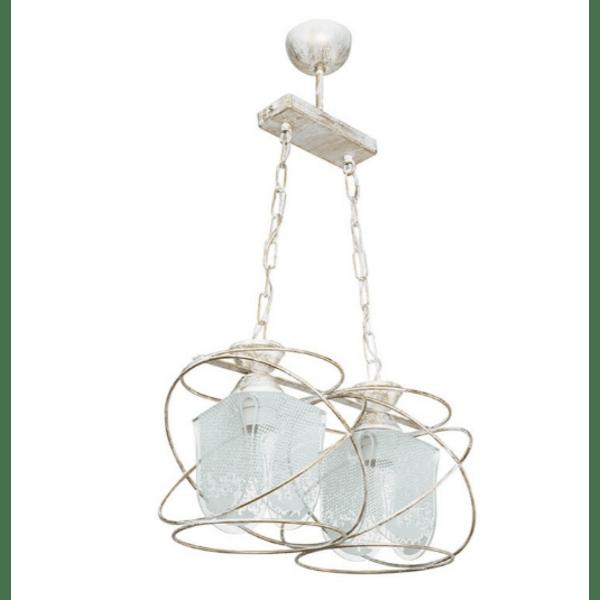 Таванна лампа златисто бяла антична 37x22x68см