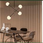 Таванна лампа Рио-цвят черен - бял 80x80x96см