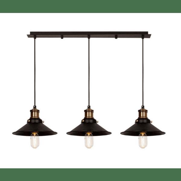 Таванна лампа Трио-черен-бронз 192x24x108cm