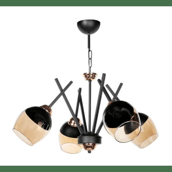 Таванна лампа  Φ60x55см черно-бронзово стъкло